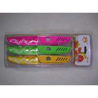 6 Fruits Knives: Pink - Green and Yellow