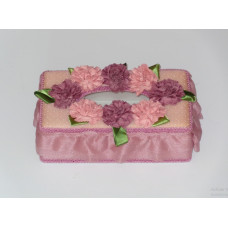 Beige tissue Holder with flower decoration