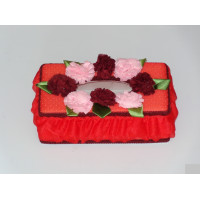 Red Tissue Holder with flowers