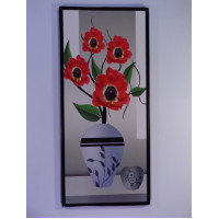 Adhesive wall decoration with red flowers